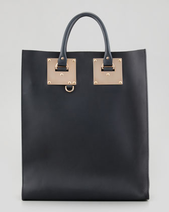 Sophie Hulme Signature Leather Tote Bag, Black - Neiman Marcus