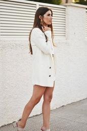shoes,mules,white shorts,white blazer,earrings,ring