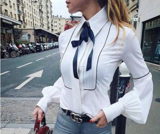 66da463343f blouse white navy white blouse white blouse navy bow navy bow bow shirt  collar shirt bell