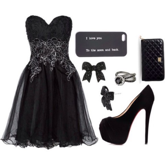 jewels phone case dress little black dress high heels wallet
