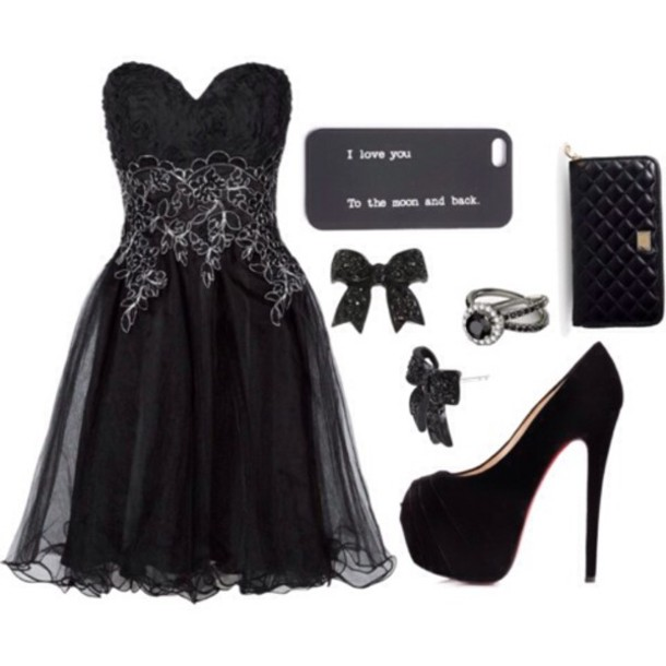dress black dress high heels phone cover jewels wallet