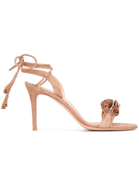 Gianvito Rossi women sandals lace leather nude suede shoes