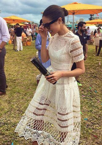 lace dress white dress white lace dress olivia culpo sunglasses midi dress romantic summer dress romantic dress wedding dress