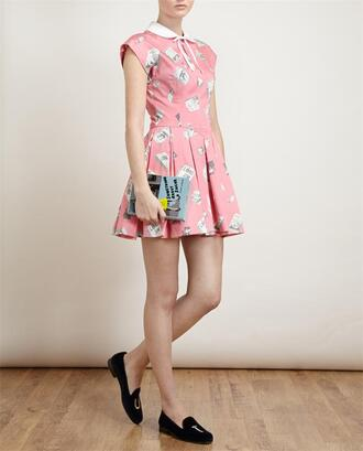 dress olympia le-tan pink book printed cotton dress stubbs & wooton clutch slippers bag shoes