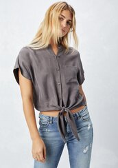 top,cupro top,tencel top,tie front,tie-front top,buttondown top,mandarin collar,mandarin collar top,short sleeve top,fall outfits,bohemian top,boho,boho chic,cupro,tencel