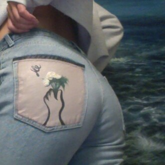 jeans plants blue jeans high wasted denim jeans embroidered flowers skinny jeans boyfriend jeans