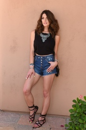 underwear,top,shorts,crop tops,necklace,coachella,festival,gladiators,sandals,ashley greene,jewels