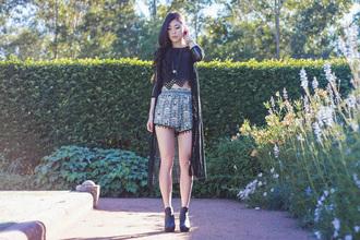 metallic paws blogger top shorts print crop tops