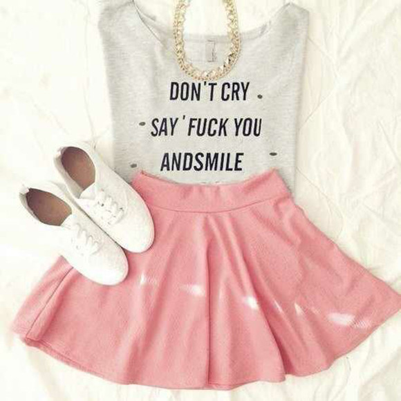 jewels grey skirt circle skirt shoes necklace quote on it dont cry say fuck you and smile