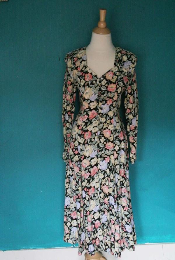 dress 90s grunge floral dress grunge