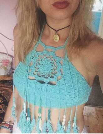 top crop tops round neck sleeveless hollow out fringed top stylish