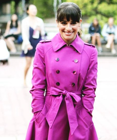 glee rachel berry lea michele coat pink fucsia trenchcoat trench