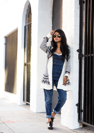 blogger cardigan denim fall outfits sunglasses walk in wonderland knitted cardigan dungarees