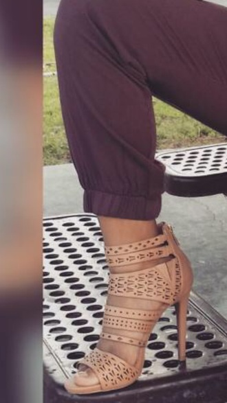 shoes tan aztec high high heels heels