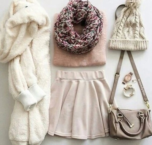 skirt bag blouse cardigan