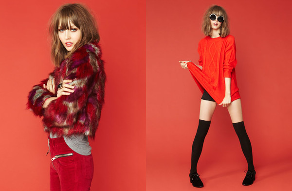jacket red monochrome faux fur faux fur jacket oversized sweater sweater knit ruby red nastygal sunglasses