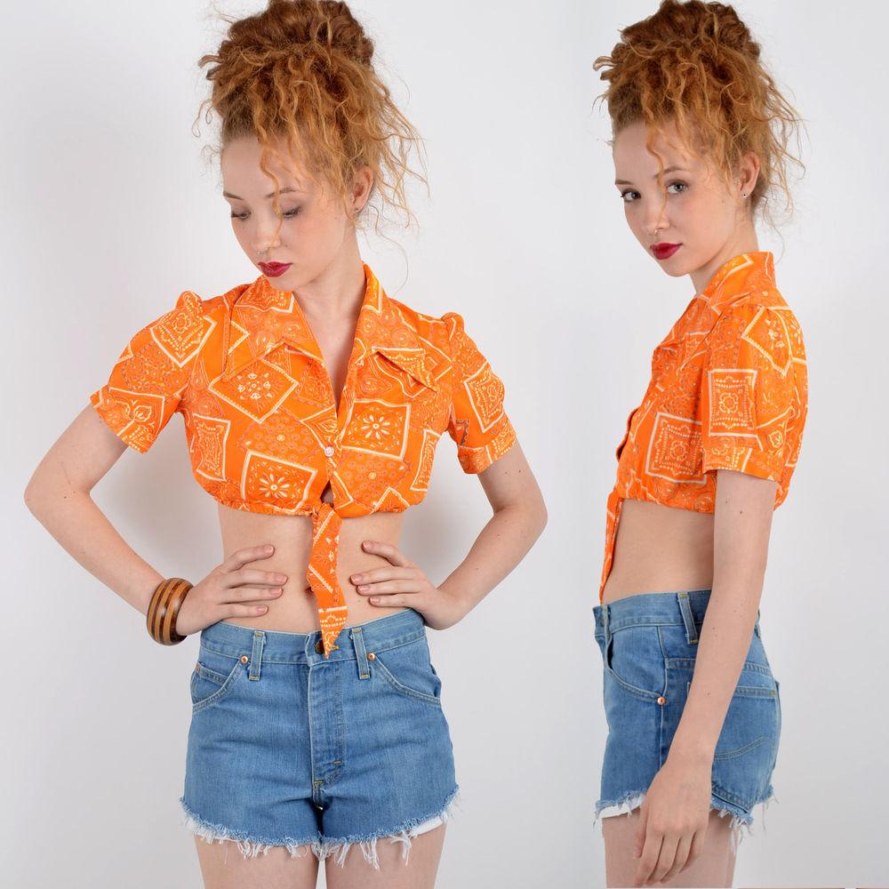 Vtg 70s Bandana Print Hippie Crop Top Boho Half Shirt Tie Waist Blouse Disco S | eBay
