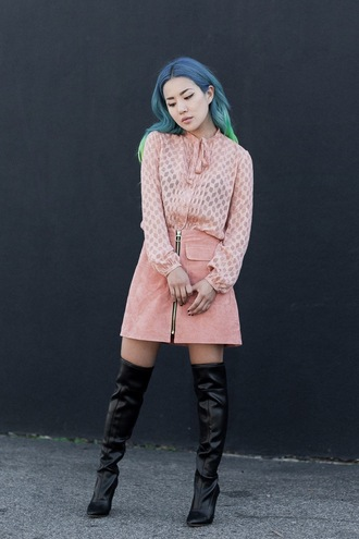 feral creature blogger skirt shoes suede suede skirt pastel dusty pink knee high boots pastel hair all pink wishlist zipped skirt pink suede skirt zip-up skirt