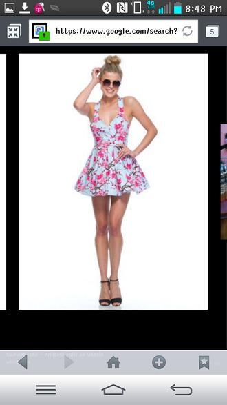 dress princess polly cherry blossom blue mini dress summer echo pink short