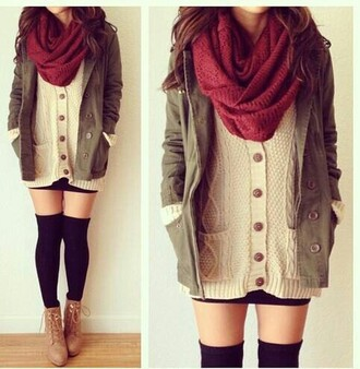 sweater outfit autumn fasion jacket socks boots scarf cute beautiful shoes coat cardigan top