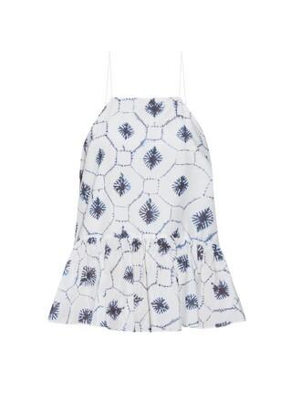 top cotton print silk navy white