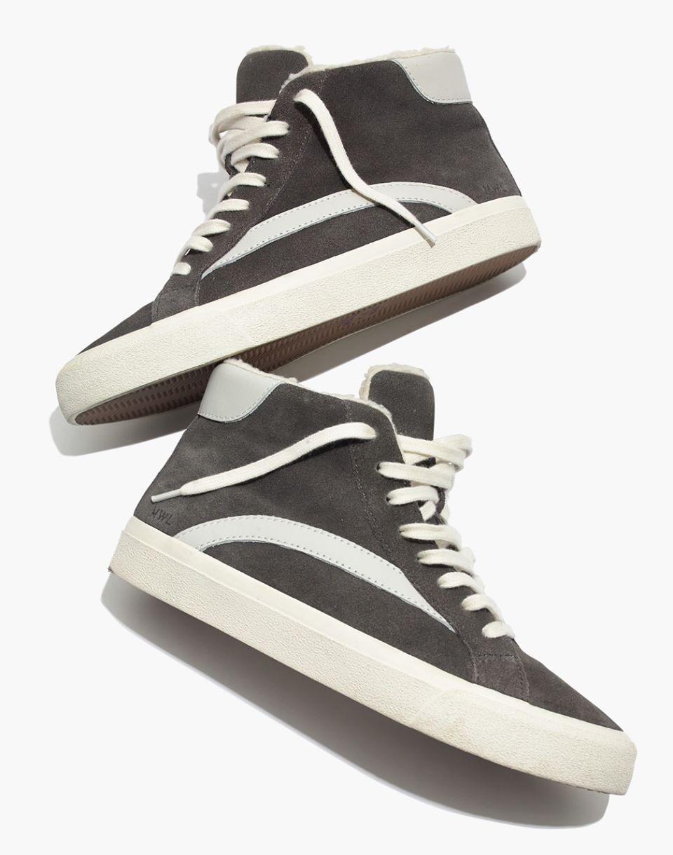 Sidewalk High-Top Sneakers in Suede and Sherpa