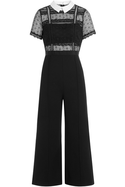 culottes lace black pants