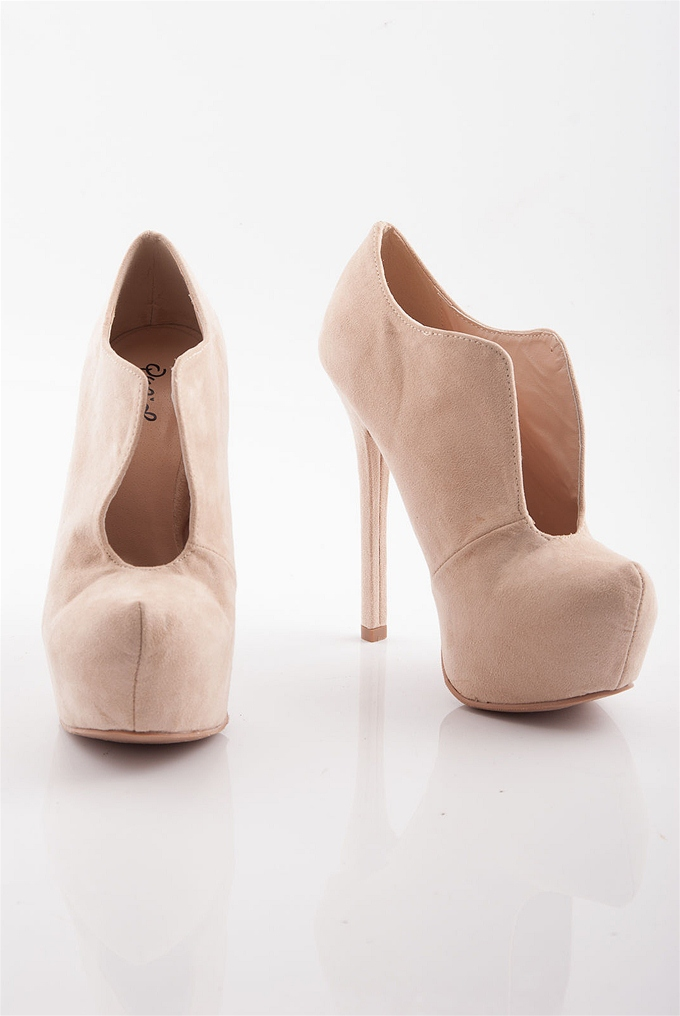 Curves High Heel Platform Booties - Nude from Qupid at Lucky 21