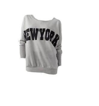 sweater grey new york city swaet hoode hoodie loose loose fit oversize tunic