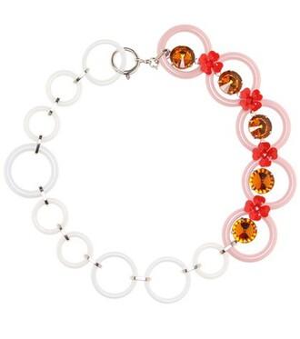 embellished necklace floral pink jewels