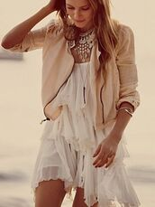 jacket,dress,cream,necklace,peplum,jewels