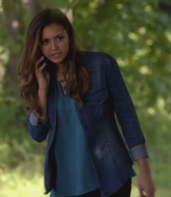 top the vampire diaries the vampire diaries elena gilbert nina dobrev jewels denim shirt earrings