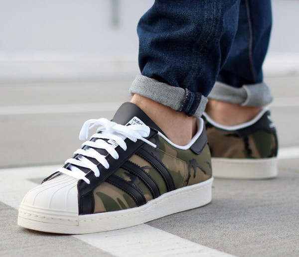 shoes adidas superstars adidas shoes camouflage fashion trendy summer cool green army green sneakers teenagers olive green adidas boogzel green sneakers
