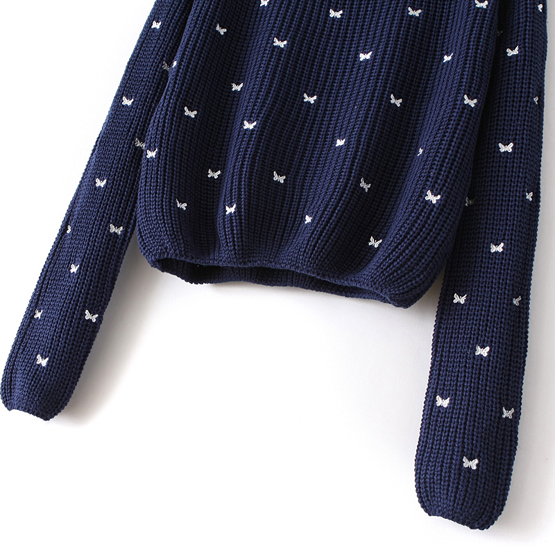 Navy Long Sleeve Bow Embroidered Pullover Sweater - Sheinside.com