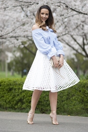 let's talk about fashion !,blogger,bag,white skirt,off the shoulder,nude heels,eyelet skirt,eyelet detail,off the shoulder top,cold shoulder,blue top,long sleeves,midi skirt,spring outfits,sandals,sandal heels,high heel sandals,gold sandals,blue off shoulder top,puffed sleeves