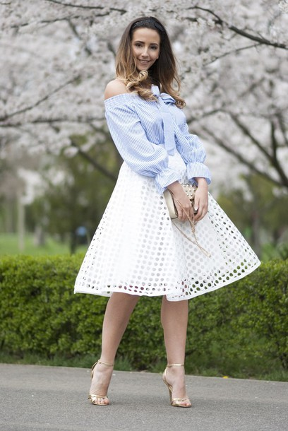 let's talk about fashion ! blogger bag white skirt off the shoulder nude heels eyelet skirt eyelet detail off the shoulder top cold shoulder blue top long sleeves midi skirt spring outfits sandals sandal heels high heel sandals gold sandals blue off shoulder top puffed sleeves