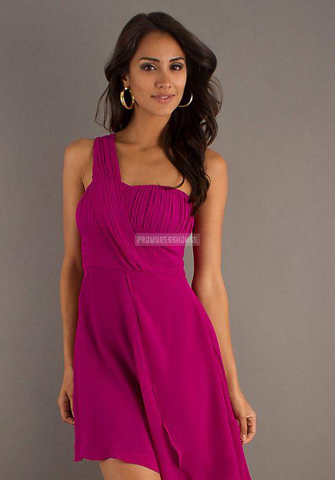 A-line Draped Ruching One Shoulder Short Fuchsia Cocktail Dress - Promdresshouse.com