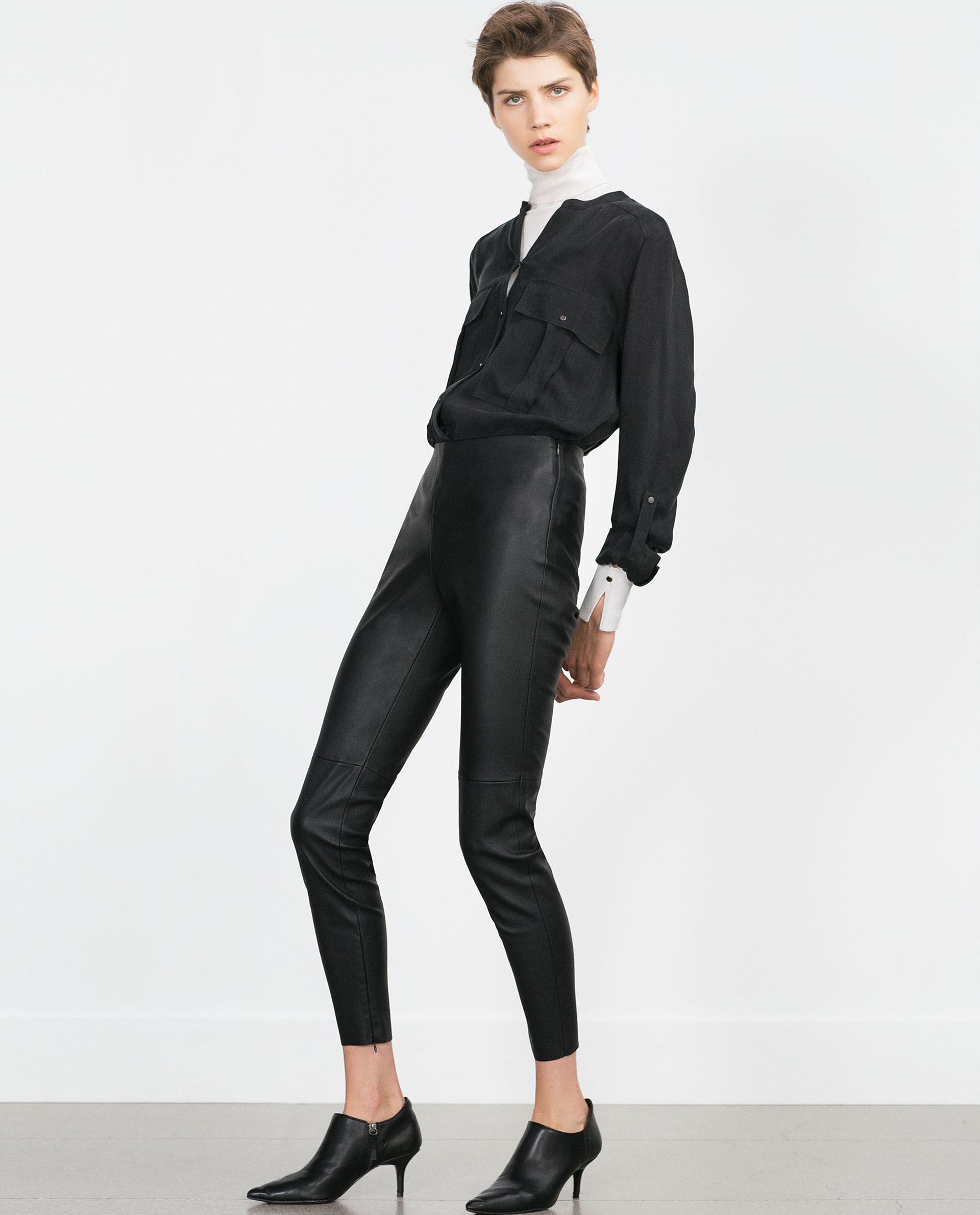 ebc7643b2023ce FAUX LEATHER LEGGINGS - Leggings - Trousers - Woman - COLLECTION SS16 | ZARA  United States