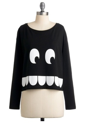white sweater jumper black teeth eyes monster face pattern picture cropped t-shirt