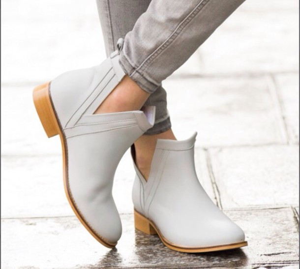 Shoes: white, cream, mint, classic, flats, cut out ankle boots ...