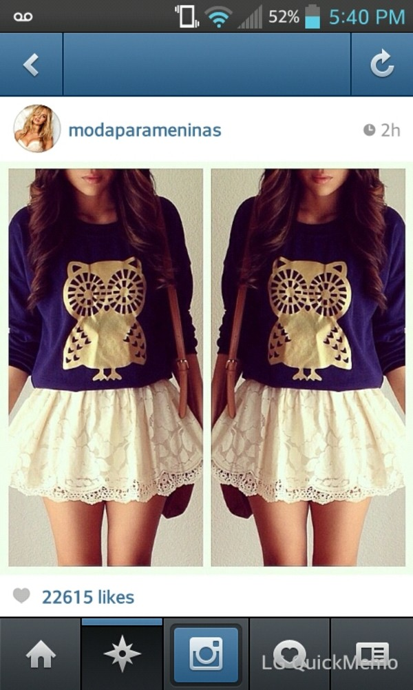 sweater owl jumper blouse owl jumper skirt white lace puffy shirt earphones top jeans