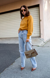 always judging,blogger,dionysus,gucci bag,mom jeans,light blue jeans,90s style,round sunglasses,brown shoes,d'orsay pumps,designer bag,yellow,oversized sweater,gucci