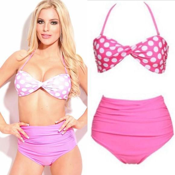 swimwear pink bikini bikini polkadot bikini pink polka dot beach summer outfits high wasit waist high waist vintage swimwearf vintage swimwear