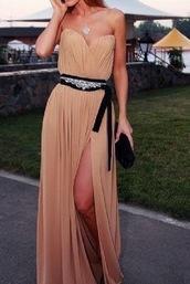 dress,nude,black,sash,light brown,clothes,beige,tan,tan dress,gown,long gown,long dress,prom dress,graduation dress,grad