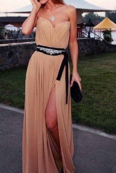 nude dress tan dress clothes beige tan gown long gown long dress prom dress graduation dress grad black sash light brown