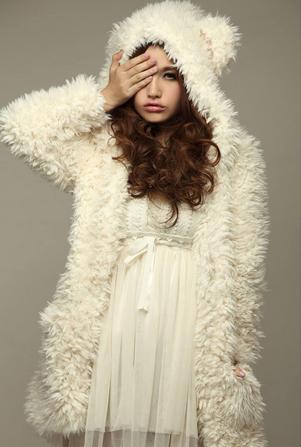 White hoodie cute bear ear outwear