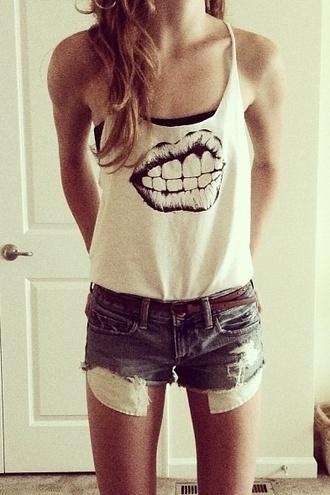 tank top white lips strappy denim shorts tube top punk shirt black and white