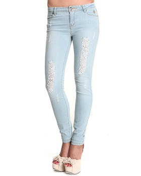 Apple Bottoms - Women Light Wash Logo Initials Pocket Distressed Skinny Jean