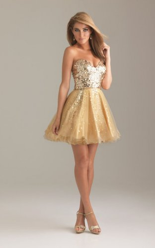 Gold Sequin Top Short A Line Strapless Prom Dresses [Gold Sequin Top] - $153.00 : Prom Dresses On Sale, 60% off Dresses for Prom Night 2013