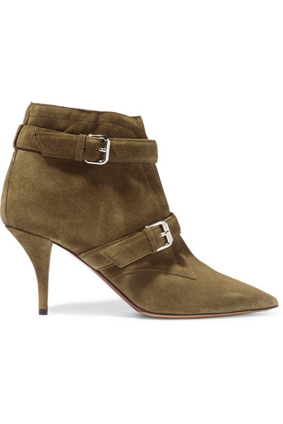 suede ankle boots boots ankle boots suede green army green shoes